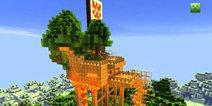 我的世界手机版地图木头瀑布 奇怪风格森林建筑