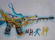 生死狙击玩家手绘-自创M14天神