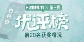 评测师2019年11月第三周优评榜获奖情况