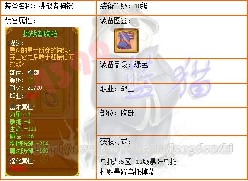 龙斗士战士10级装备挑战者胸铠