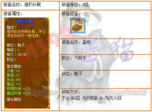 龙斗士弓箭手8级蓝装 猎豹长靴