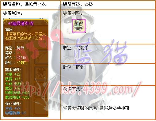 4399龙斗士弓箭手25级紫装追风者外衣