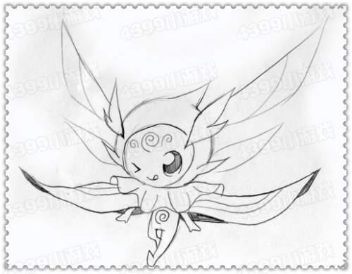 素描简单可爱精灵