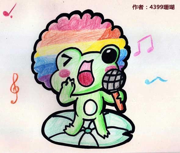 洛克王国彩虹蛙蜡笔手绘图 珊瑚和珊瑚妈咪作品