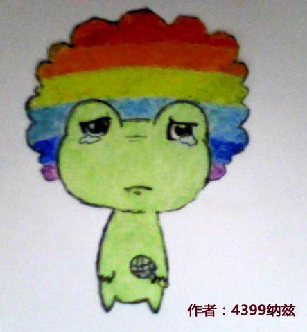 洛克王国哭泣的彩虹蛙手绘图