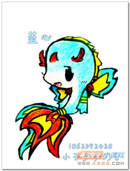 蓝蓝是条快乐的小鱼,蓝蓝不知道忧伤,不知道烦恼,自由自在,快乐极了.