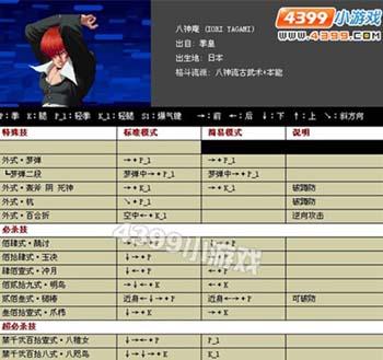 97色图片网_网页游戏 页游快讯 游戏百科知识 > 4399拳皇97出招表  拳皇系列的