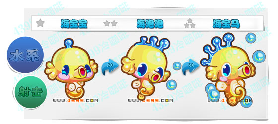 奥奇传说海宝宝 海泡泡 海宝马进化图鉴技能表特长