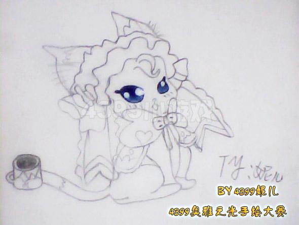 奥雅之光 奥雅手绘    第一次看到战宠的手绘哦,这只莫妮卡很可爱
