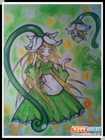 赛尔号手绘 魔花拟人和小豆芽