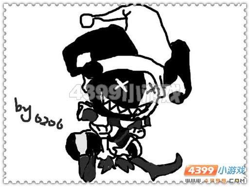 小丑手绘黑白图片