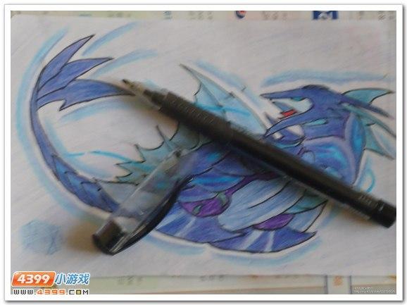 赛尔号手绘 彩铅画青龙