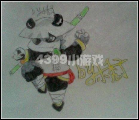 艾迪精灵手绘 酒仙熊猫