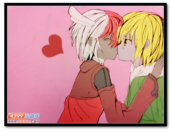 可爱接吻动漫手绘