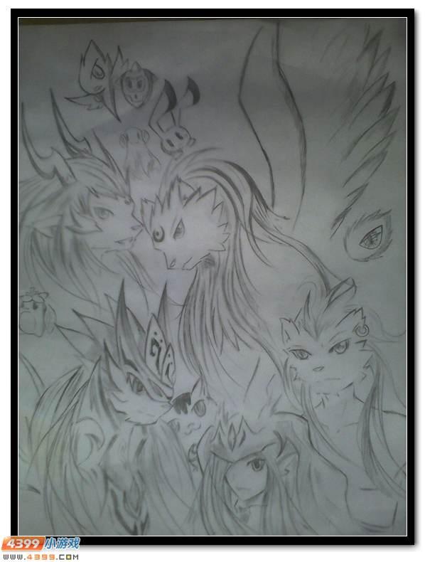 赛尔号手绘 铅笔绘精灵