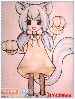 的千年白玉狐第一形态拟人图,还真是可爱哇!最喜欢那两个小辫子啦!