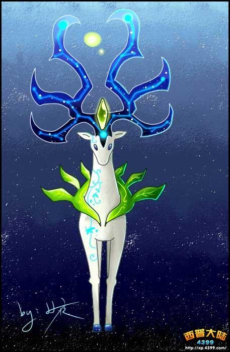 西普大陆玩家手绘 自创精灵星辰飞叶鹿