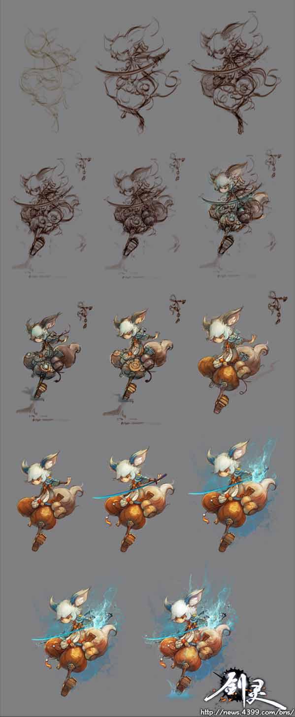 剑灵华丽灵剑士原画与绘制过程图