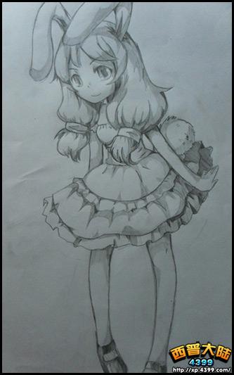 西普玩家手绘 兔子变身萌少女