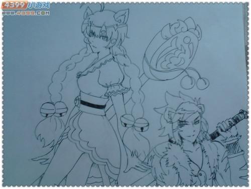 猫女手绘铅笔画