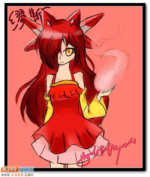 赛尔号鼠绘 红衣少女缪斯