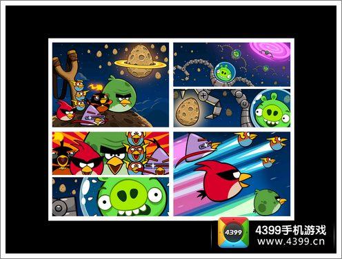 q版卡通的彩色小鸟和绿幽幽的小猪,为外太空增添了不少色彩,特殊的