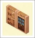 魔法宝贝有门的原木墙壁