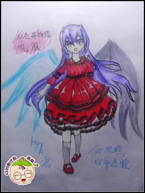 奥比岛手绘红色哥特式礼裙-4399k君