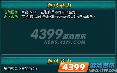 4399凡人修真2 官职系统详述
