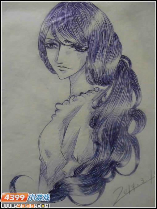 圆珠笔画少女-4399獠夜