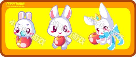 红通通的苹果让人忍不住想吃上一口,萌萌的小兔子愿得你欢心!