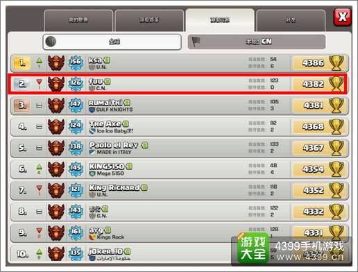 中国女玩家登部落战争世界榜第二