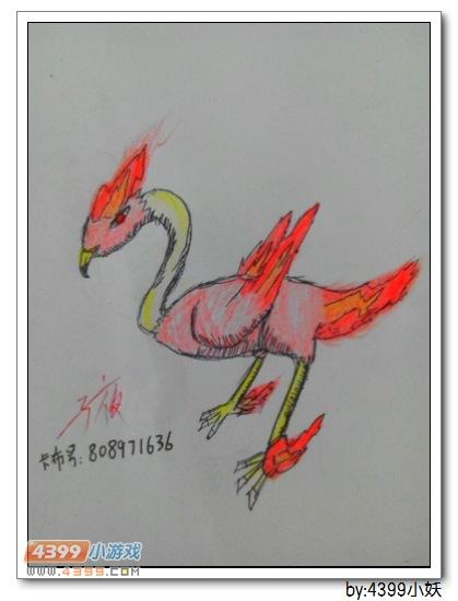 卡布手绘—炎红火烈鸟