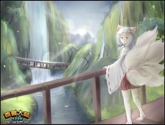 搜神记之斑狐_西普大陆板绘 水灵仙狐