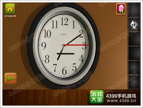 点击时钟,将两个指针装上去,将时间调整成七点十五分,即可得到碟片.