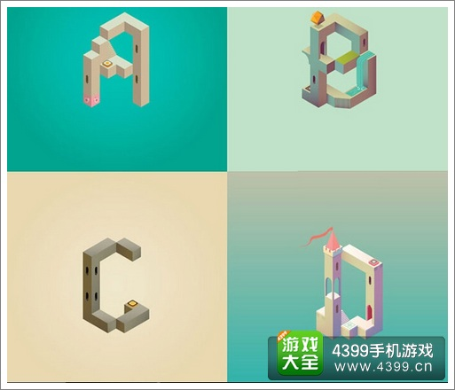 来自牛b设计师的创意:用《纪念碑谷》设计字母