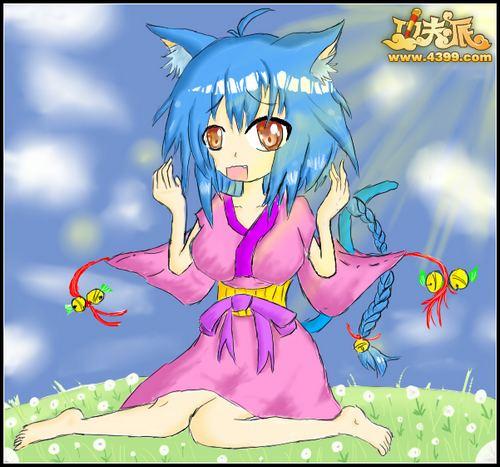 功夫派手绘-蓝发猫女