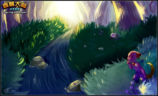 西普大陆板绘 森林小溪