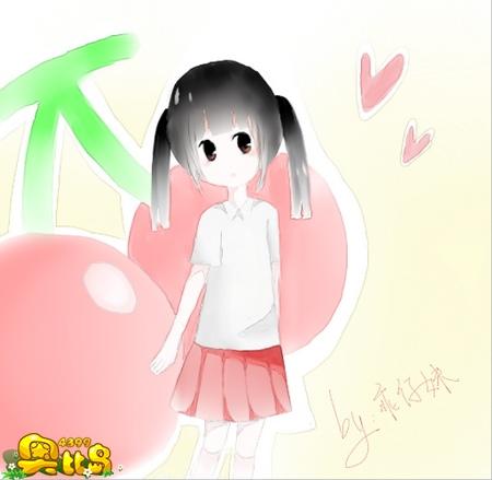 樱桃拟人化手绘卡通