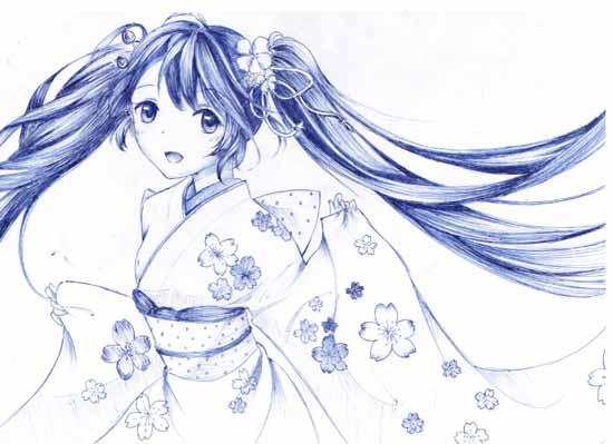 小花仙手绘和服少女--4399汤谷