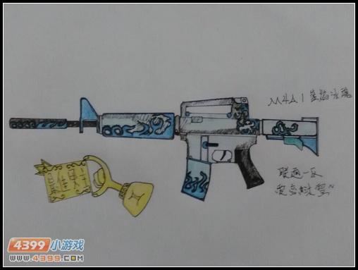 生死狙击玩家手绘—m4a1蓝焰冰魂