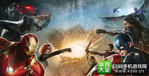 《美队3》的宣传海报,画面中复仇者们分别以美队和钢铁侠为核心组成
