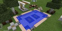 我的世界游泳池建造 户外休憩很讲究