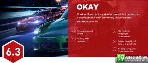 《极品飞车19》IGN评分出炉 比想象的更低