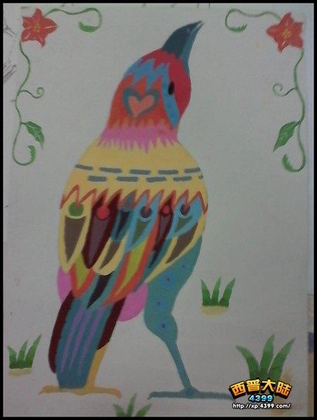 西普大陆手绘 七彩鸟