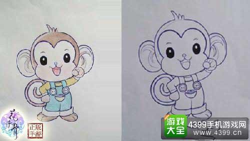 在树上的猴子怎么画