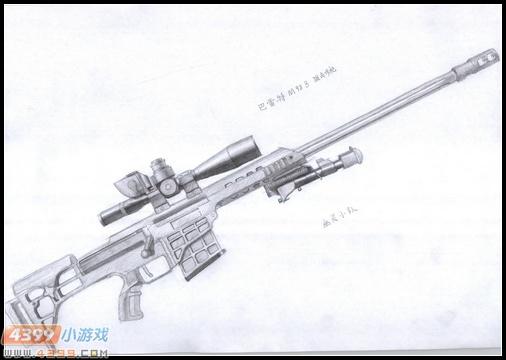 生死狙击玩家手绘-巴雷特m98b狙击步枪