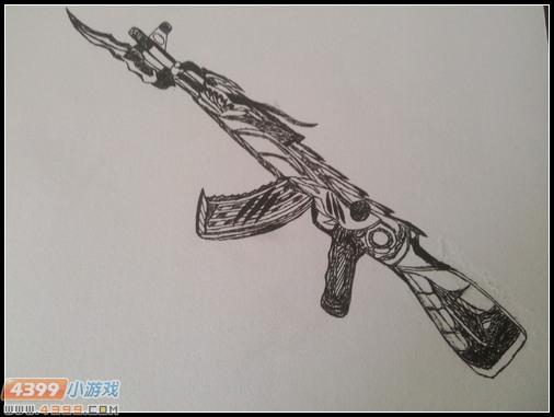 生死狙击玩家手绘-ak47无影
