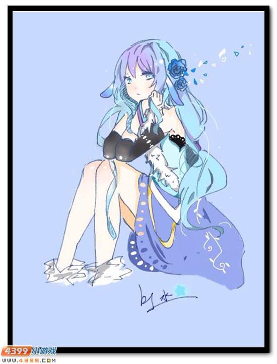 赛尔号 小让咆哮 手绘  真好看的阿克希亚,像水边的一朵静静的蓝玫瑰