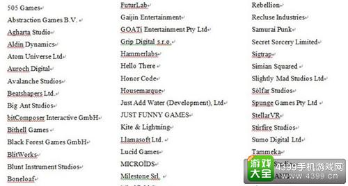 索尼PS VR游戏开发第三方开发商和发行商